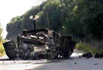 بقايا دبابة إسرائيلية محطمة في جنوب لبنان