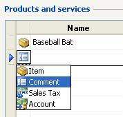 Microsoft Small Business Accounting Software (SBA) Line Types