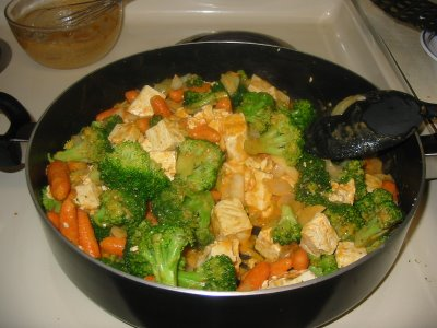 tofu and veggies with peanut sauce