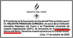 Aviso publicado por el Grupo Scout del Perú