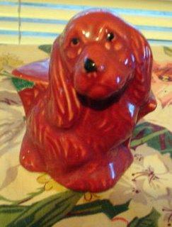 Red dog planter