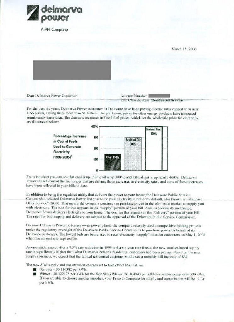The honest hypocrite update on the 59 electricity rate increase in the same letter click to the left to see as all delmarva power customers and i did she points out in a letter to the editor that the rate increase spiritdancerdesigns Image collections