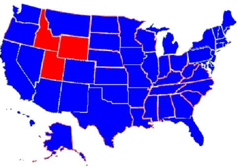WOO My Blue Nation - Us political map red blue