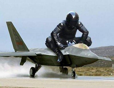 giant pilot on jet