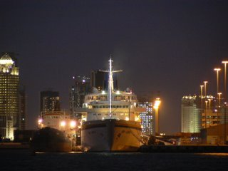 Ships moored at Doha Harbour light up the night
