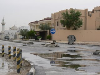 Rain, puddles and an overcast sky: not a common sight in Qatar