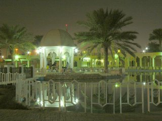 Lights reflect of the water in a Doha park