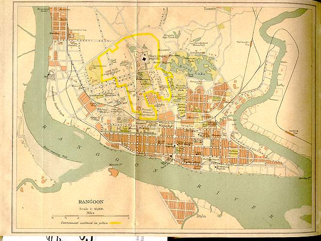yangon rangoon map 1914 today in myanmar