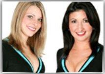 Renee Thomas (left) and Angela Keathley in happier, cheerleading days.