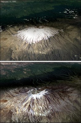 Mount Kilimanjaro on February 17, 1993 (above) and February 21, 2000 (below)