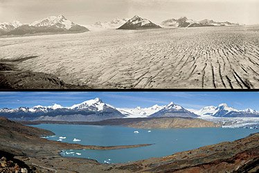 Upsala Glacier, in Argentina, in 1928 and 2004