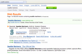 Click to see larger image: Live scores with MSN Search
