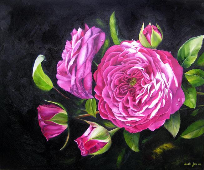heidi klum rose in oil small painting 4 x6 doris joa. Black Bedroom Furniture Sets. Home Design Ideas