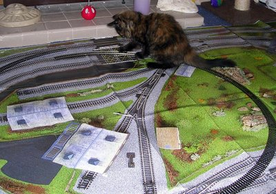 Heidi with the train set we bought for the coach