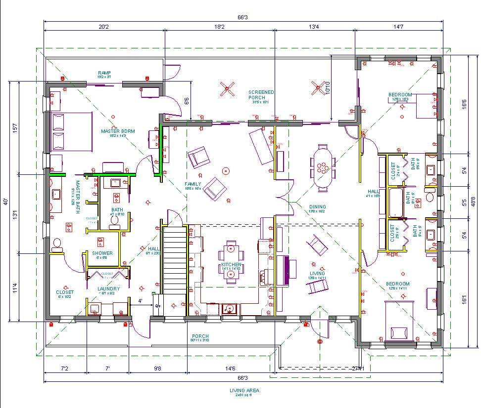 House plan with furniture - Both Plans Need A Coat Closet For The Formal Entrance The Entrance From The Wider Porch At The Bottom Middle The Entrance To The Left At The Bottom