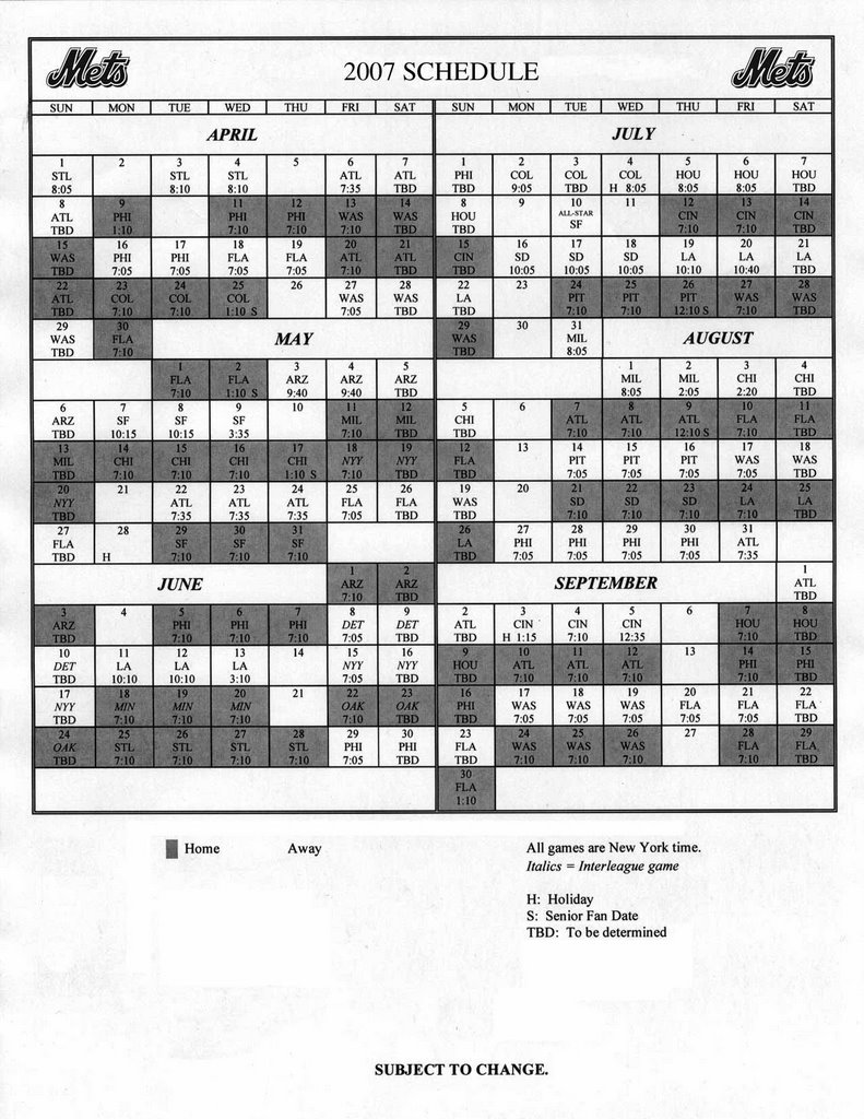 photo about Printable Mets Schedule referred to as Stories Of A Transplanted Mets Enthusiast: Mets 2007 Timetable - Mets