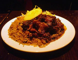 Mr Jerk's oxtail with rice and peas