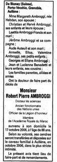 Décès Ambroggi Robert