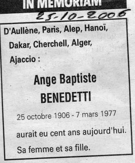 Memoriam Benedetti ange baptiste