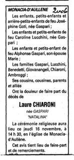 Décès Gaspari Chiaroni Laure