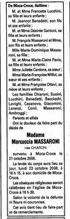Décès Chiaroni Massaroni Marie