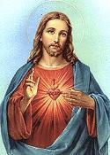EL Sagrado Corazon de Jesus mostrando la tecnica Esenia de la Apertura del Canal del Tercer Ojo y su corazon en llamas, clave de la Alta Iniciacion del Aerosoma