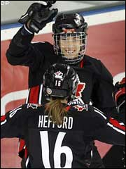 Caroline Ouellette Jayna Hefford celebrate another win.