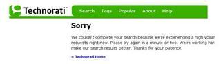 Technorati sorry