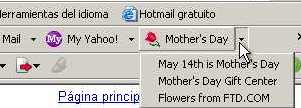 día de la madre en la barra de Yahoo!