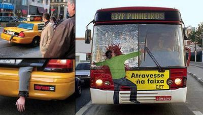 publicidad impactante en taxis y autobuses