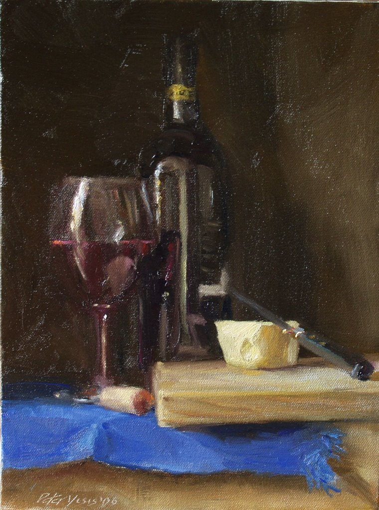 Daily Painting Practice Wine And Cheese