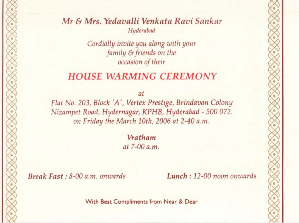 Ravi Yedavalli S Blog House Warming Ceremony You Are