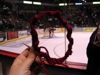 Knitting at the hockey game