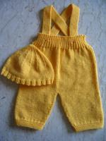 yellow baby pants and hat
