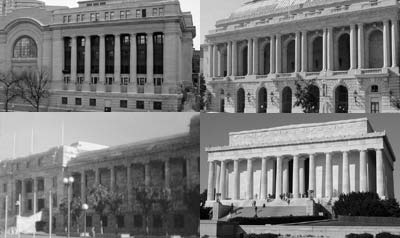 NZ Parliament House (bottom left) compared to Wikipedia photos of (clockwise from top left) Ottawa Government Conference Centre, San Francisco Opera House and the Lincoln Memorial