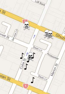 Map of music- and skull-related shops in Cuba St