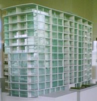 Model of the Chews Lane apartments from the northwest (detailed model)