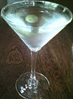 Floating olive in a Dockside Martini