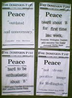 Peace City posters in Wellington