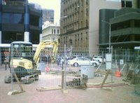 Preparation for the installation of 'SkyBlues' at Post office Square
