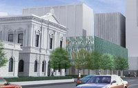 Rendering of proposed NZ Supreme Court building next to refurbished Old High Court