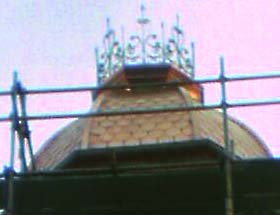 Detail of the new cupola on the old Mayfair building