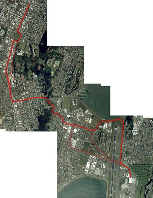 Possible routes for a Wellington CBD to airport LRT system - basemap from zoomin.co.nz
