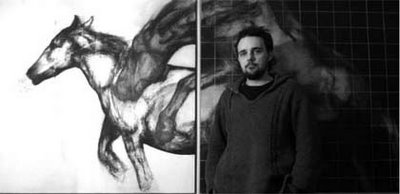 Dan Campion with his diptych 'Night Becomes'