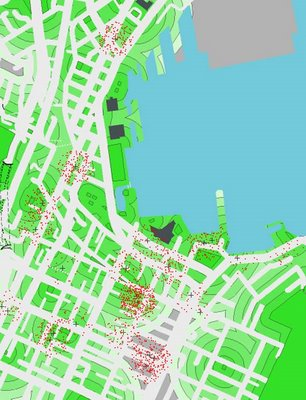 Map of new apartment dwellers and green space. One red dot per new resident; green rings show distance from green space.