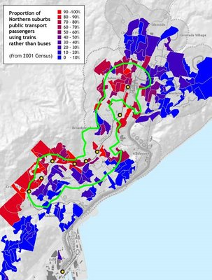 Map of public transport choices in Wellington's northern suburbs