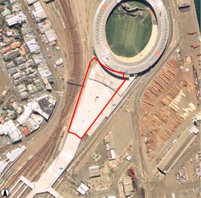 Stadium concourse with proposed indoor stadium site