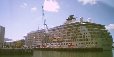 'The World' apartment ship at Queens Wharf, Wellington