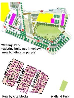 Comparison of Waitangi Park, city blocks and Midland park at the same scale
