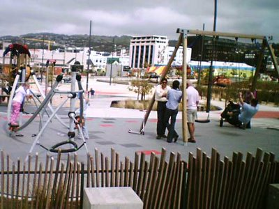 Waitangi Park playground in use before opening